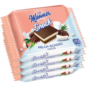 Manner Snack Milch-Schoko Cocos UTZ, 4er Packung