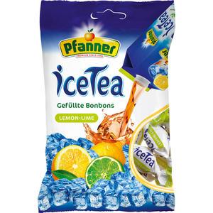 Pfanner IceTea Lemon-Lime, gefüllte Bonbons