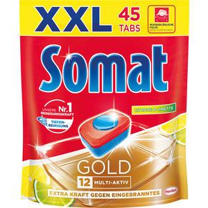 Somat 12 Gold Zitrone & Limette XXL Tabs Multi-Aktiv (Reiniger, sofort-aktiv, Glasschutz, Klarspüler, Salzfunktion, Geruchsneutralisierer, aktiv ab 40 °C, Dekorschutz, Edelstahl-Glanz, Trocken-Effekt, Extra Einweichkraft)