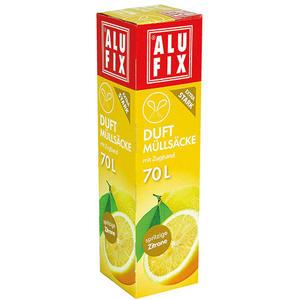 Alufix Duft-Müllsäcke 70 Liter Spritzige Zitrone, mit Zugband, extra stark