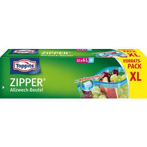 Toppits Zipper Allzweckbeutel 6 Liter XL, Frischhalte-/Aufbewahrungsbeutel