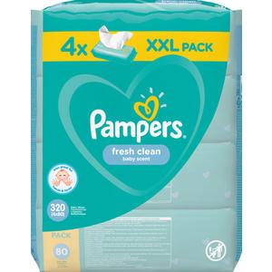 Pampers Feuchttücher Fresh Clean, Nachfüllpackung, 4 x 80 Stück