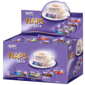 Milka Naps Mix 4 Sorten (Alpenmilch, Haselnuss, Erdbeer, Crème au Cacao), einzeln verpackt, ca. 355 Stück