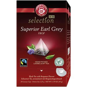 Teekanne Selection Superior Earl Grey Fairtrade, Schwarztee, Pyramidenbeutel im Kuvert