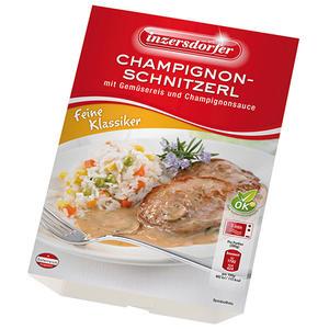 Inzersdorfer Champignonschnitzerl mit Gemüsereis