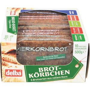 Delba Brotkörbchen, 5 Brotsorten geschnitten, EINZELN VERPACKT (je 2 Scheiben Vierkornbrot, Vollkornbrot, Leinsamenbrot, Sonnenblumenkernbrot und Pumpernickel)