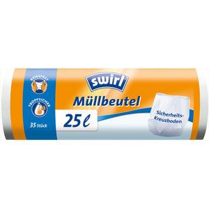 Swirl Müllbeutel 25 Liter, weiss/teil-transparent, reissfest, tropfsicher