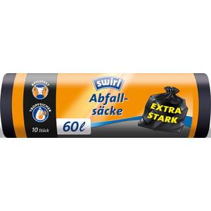 Swirl Abfallsäcke 60 Liter, extra stark, schwarz/blickdicht, reissfest, tropfsicher