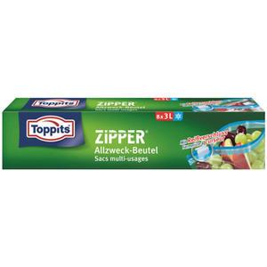 Toppits Zipper Allzweckbeutel 3 Liter, Frischhalte-/Aufbewahrungsbeutel mit Reißverschluss