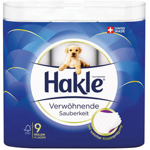 Hakle Verwöhnende Sauberkeit, Toilettenpapier 4-lagig, weiß mit Prägung, 9 x 140 Blatt
