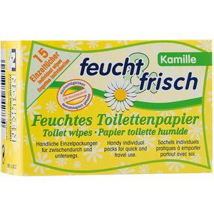 Feucht & Frisch Feuchte Toilettentücher für Zwischendurch und Unterwegs, Kamille, einzeln verpackt