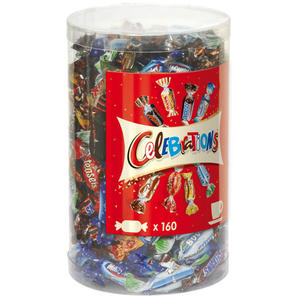 Celebrations (Twix, Milky Way Crispy Rolls, Snickers, Mars, Bounty, Dove, Dove Caramel, Teasers), 160 Stück