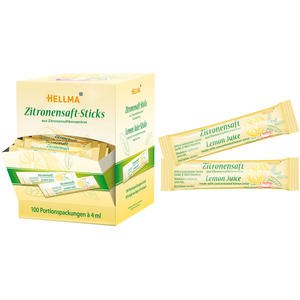 Hellma Zitronensaft-Sticks, 100 Portionspackungen à 4 ml, Display-Karton