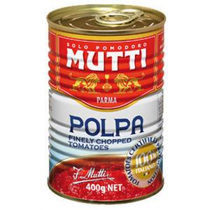 Mutti Polpa, Tomaten fein gehackt mit Basilikum