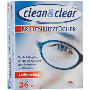 Clean & Clear Brillen-Putztücher Antibeschlag, einzeln verpackt
