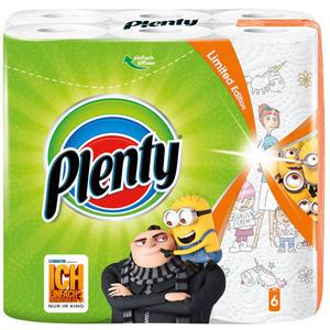 Plenty Küchenrolle Fun Designs 2-lagig, weiß mit Design, 6 Rollen à 45 Blatt (26 x 22,8 cm)