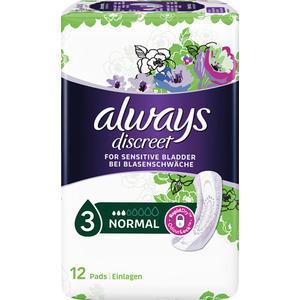 Always discreet Inkontinenz Normal 3 Einlagen, leichte bis mittlere Blasenschwäche