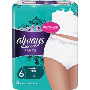 Always discreet Inkontinenz Pants Plus L (Gr. 44 - 54) 6, mittlere bis schwere Blasenschwäche