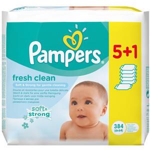 Pampers Feuchte Tücher Fresh Clean, Nachfüllpackung, 6 x 64 Stück