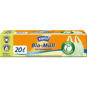 Swirl Bio Müllbeutel 20 Liter, mit Tragegriff, grün/teil-transparent, reissfest, tropfsicher, kompostierbar