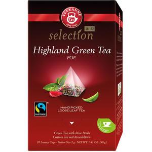 Teekanne Selection Highland Green Tea Fairtrade, Grüner Tee, Pyramidenbeutel im Kuvert