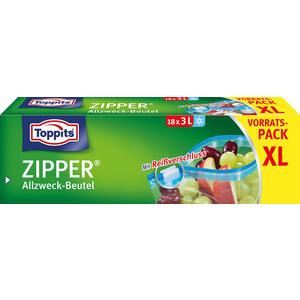 Toppits Zipper Allzweckbeutel 3 Liter XL, Frischhalte-/Aufbewahrungsbeutel