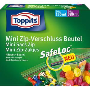 Toppits Ziploc Mini Zip-Verschlußbeutel Sortimentsbox (20 x 150 ml, 20 x 380 ml)