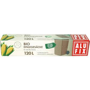 Alufix Bio Einlegesäcke 120 Liter für die Bio-Tonne, atmungsaktiv, biologisch abbaubar, kompostierbar