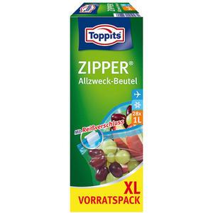 Toppits Zipper Allzweckbeutel 1 Liter XL, Frischhalte-/Aufbewahrungsbeutel