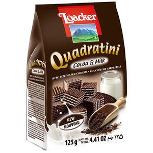 Loacker Quadratini Cocoa & Milk, Waffelwürfel