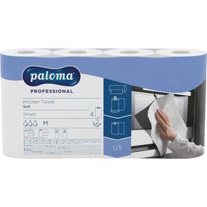 Paloma Professional Küchenrolle Soft Smart 2-lagig, weiß, 4 Rollen à 50 Blatt (22 x 22,2 cm), 100 % Zellstoff