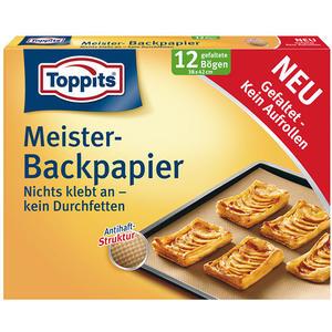 Toppits Backpapier-Bögen, mit Antihaft-Struktur, 12 gefaltete Bögen à 38 x 42 cm