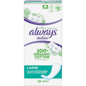 Always dailies Large Cotton Protection, Oberfläche aus 100 % Bio-Baumwolle, Slipeinlagen
