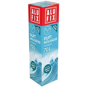 Alufix Duft-Müllsäcke 70 Liter Frische Meeresbrise, mit Zugband, extra stark