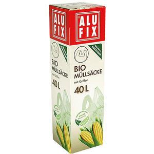 Alufix Bio-Müllsäcke 40 Liter, mit Griffen, atmungsaktiv, biologisch abbaubar, kompostierbar