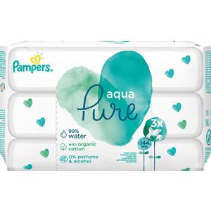 Pampers Feuchttücher Aqua Pure, Nachfüllpackung, 3 x 48 Stück
