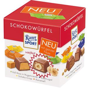 Ritter Sport Schokowürfel Bunter Mix, 4 Sorten (Voll-Nuss in Nugatcreme, Edelnugat, Schoko Crisp, Karamell), 22 Stück