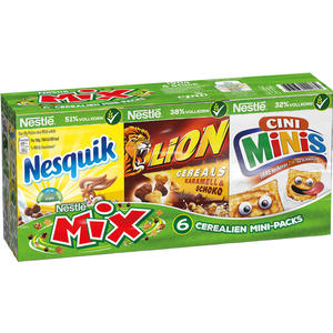 Nestlé Mix, 6 Cerealien Mini-Packs (je 1 x Nesquik, Nesquik Duo, Cookie Crisp, Lion Cereals und 2 x Cini Minis)