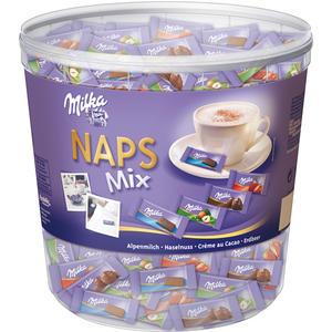 Milka Naps Mix 4 Sorten (Alpenmilch, Haselnuss, Erdbeer, Crème au Cacao), einzeln verpackt, ca. 207 Stück