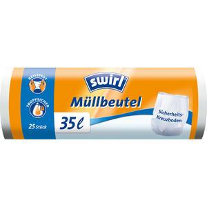 Swirl Müllbeutel 35 Liter, weiss/teil-transparent, reissfest, tropfsicher