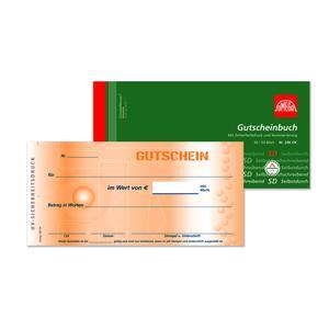 Gutscheinbuch mit fortl. Nr. 296OK, 5 Stk. (=1VE) 21x10cm 2x50 Blatt SD