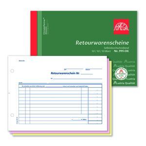 Retourwarenscheinbuch 995OK, 5 Stk. (=1VE) DIN A5 quer 3x50Blatt SD