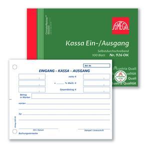 Kassaein-/ausgangsbuch 926OK, 10 Stk. (=1VE) DIN A6 quer 1x100Blatt SD