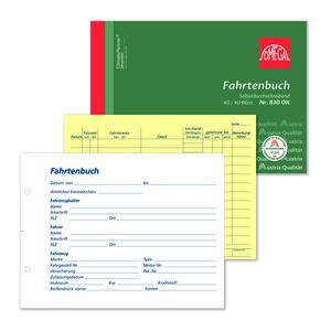 Fahrtenbuch 830OK, 5 Stk. (=1VE) DIN A5 quer 2x40Blatt SD
