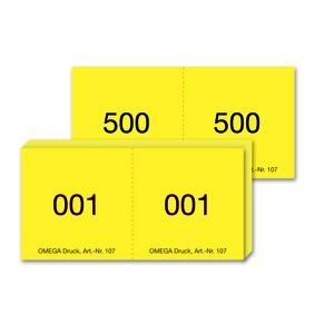 Nummernblock 107/1 gelb, 5 Blöcke von 1-500 nummeriert