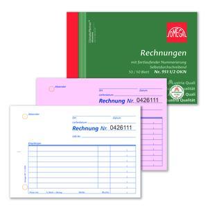 Rechnungsbuch 951 1/2OKN, 10 Stk. (=1VE) DIN A6 quer 2x50Blatt + fortl. Nr., SD