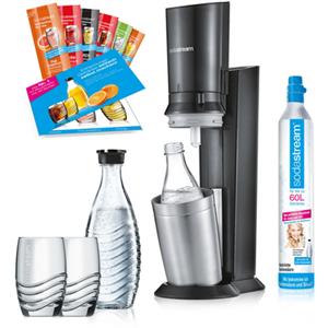 Crystal 2.0 Promopack titan Trinkwasser-Sprudler inkl. 2. Karaffe, 2 Gläser und 6 Sirup-Proben