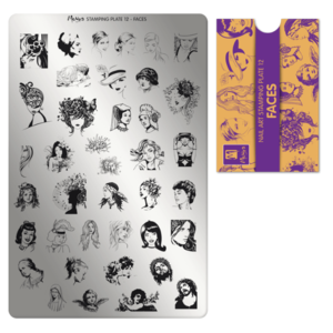 Moyra Stamping Schablone - Faces Nr.12
