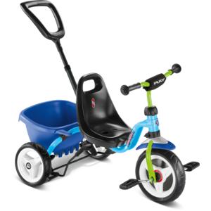 Puky - Dreirad Ceety mit Komfortreifen, Kippmulde und Schiebestange - blau/kiwi - 2218
